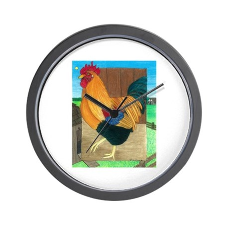 Rooster On Patrol Wall Clock