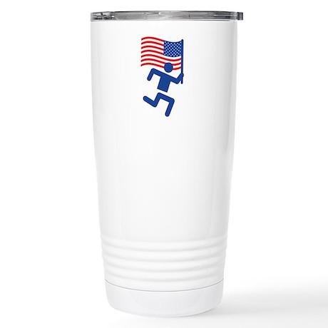 USA Flag Runner Stainless Steel Travel Mug