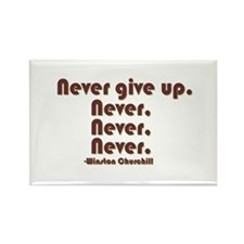 """""""Never Give Up"""" Rectangle Magnet"""
