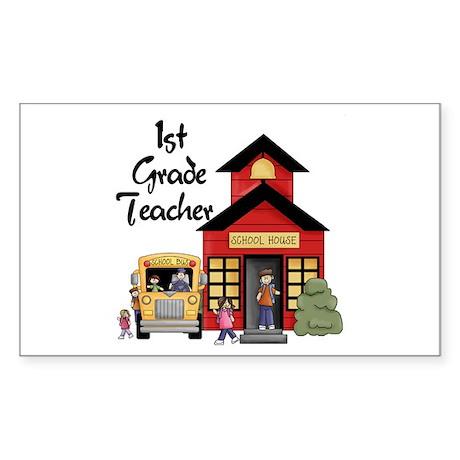 1st Grade Teacher Rectangle Sticker