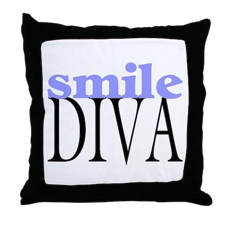Smile Diva Throw Pillow