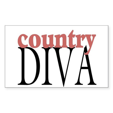 Country Diva Rectangle Sticker