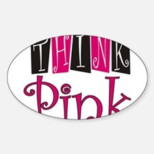 Think Pink Design Oval Decal