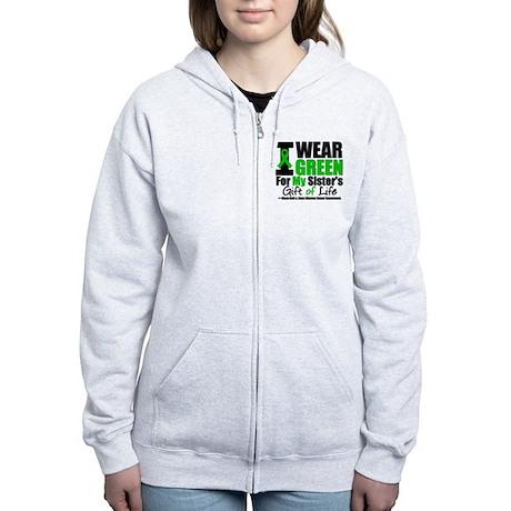 I Wear Green For My Sister Women's Zip Hoodie