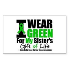 I Wear Green For My Sister Rectangle Decal