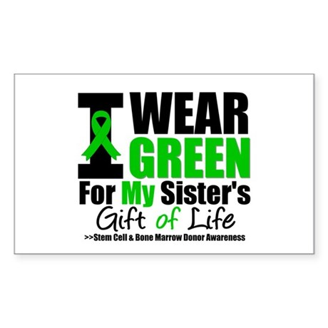 I Wear Green For My Sister Rectangle Sticker