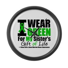 I Wear Green For My Sister Large Wall Clock