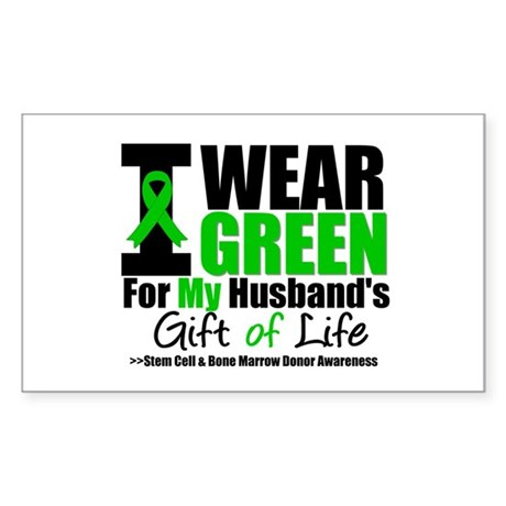I Wear Green For My Husband Rectangle Sticker