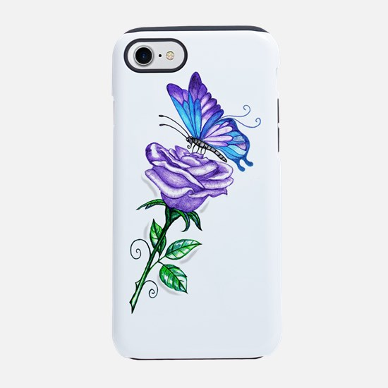 Purple Rose with Butterfly iPhone 7 Tough Case