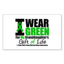 I Wear Green Granddaughter Rectangle Decal
