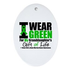 I Wear Green Granddaughter Oval Ornament