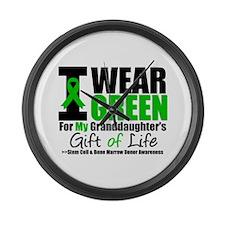 I Wear Green Granddaughter Large Wall Clock