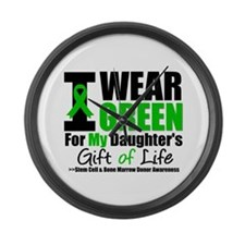 I Wear Green For My Daughter Large Wall Clock