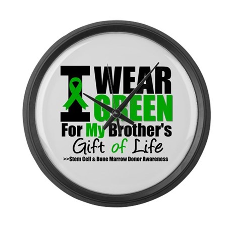 I Wear Green For My Brother Large Wall Clock