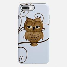 Brown Swirly Tree Owl iPhone 7 Plus Tough Case