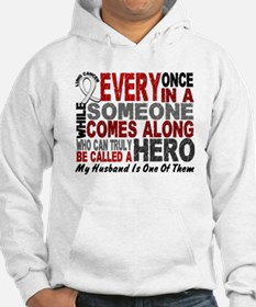 HERO Comes Along 1 Husband LUNG CANCER Hoodie