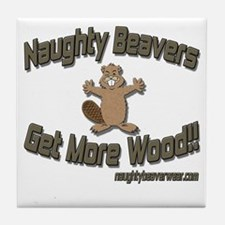 Naughty Beavers Get More Wood Tile Coaster