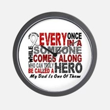 HERO Comes Along 1 Dad LUNG CANCER Wall Clock