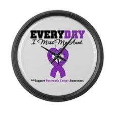 PancreaticCancer Aunt Large Wall Clock