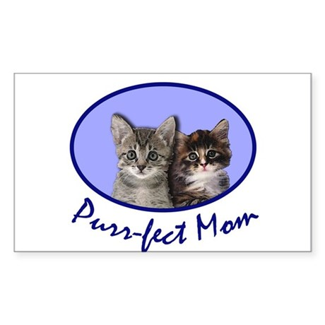 Purr-fect Mom with Kittens Rectangle Sticker