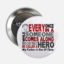 """HERO Comes Along 1 Father LUNG CANCER 2.25"""" Button"""