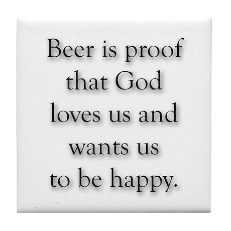 funny Beer & God Tile Coaster