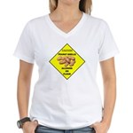 Cautions Peanuts On Floor Women's V-Neck T-Shirt