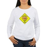 Cautions Peanuts On Floor Women's Long Sleeve T-Sh