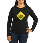 Cautions Peanuts On Floor Women's Long Sleeve Dark