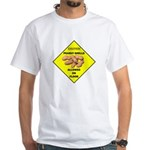 Cautions Peanuts On Floor White T-Shirt