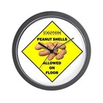 Cautions Peanuts On Floor Wall Clock