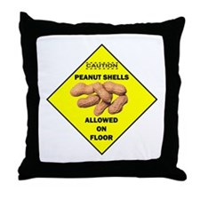 Cautions Peanuts On Floor Throw Pillow