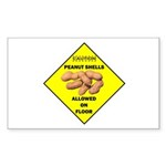 Cautions Peanuts On Floor Rectangle Sticker 10 pk