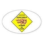 Cautions Peanuts On Floor Oval Sticker (10 pk)