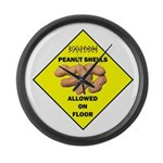 Cautions Peanuts On Floor Large Wall Clock