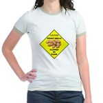 Cautions Peanuts On Floor Jr. Ringer T-Shirt
