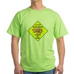 Cautions Peanuts On Floor Green T-Shirt