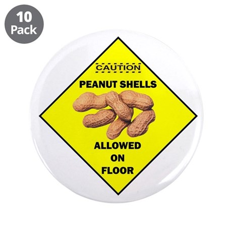 "Cautions Peanuts On Floor 3.5"" Button (10 pac"