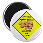 "Cautions Peanuts On Floor 2.25"" Magnet (10 pa"