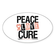 Uterine Cancer Cure Oval Decal