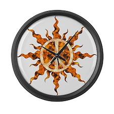 Flaming Peace Sun Large Wall Clock