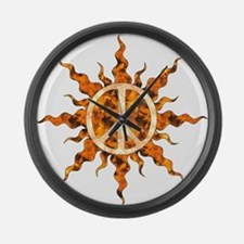 Flaming Peace Sun Large Wall Clock