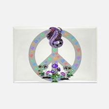 Peace Symbol Snake Rectangle Magnet