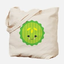 Cute Happy Kawaii Pickle Slice Tote Bag