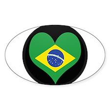 I love Brazil Flag Oval Decal