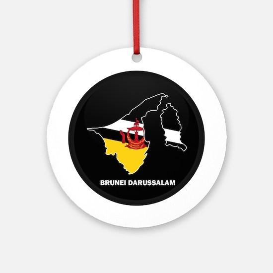 Flag Map of BRUNEI DARUSSALA Ornament (Round)