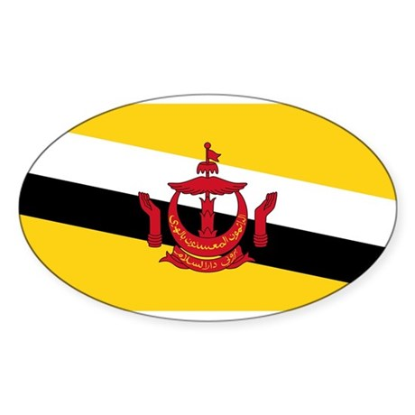 BRUNEI DARUSSALAM Flag Oval Sticker (10 pk)