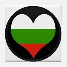 I love Bulgaria Flag Tile Coaster