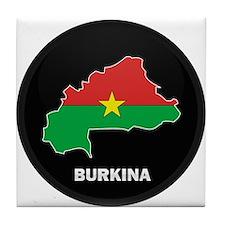 Flag Map of Burkina faso Tile Coaster