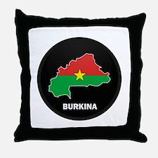 Flag Map of Burkina faso Throw Pillow